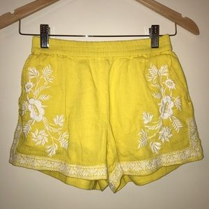Yellow and White Embroidered J.Crew Fabric Shorts